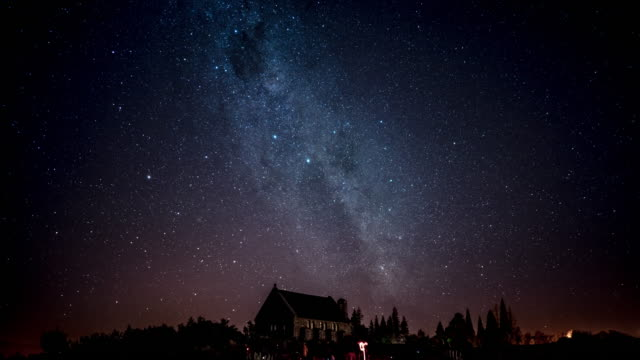 milky way over church - church stock videos and b-roll footage