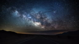 Milky Way over Country Road - Death Valley, USA - 4K Nature/Wildlife/Weather