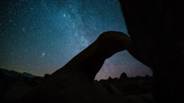 milky way over mobius arch - tracking shot - natural arch stock videos & royalty-free footage