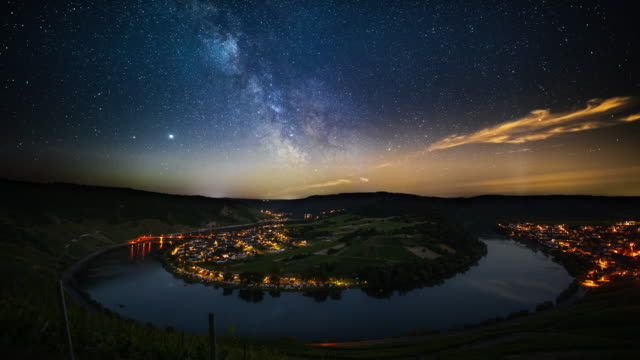 milky way over mosel river bend - river bend land feature stock videos & royalty-free footage
