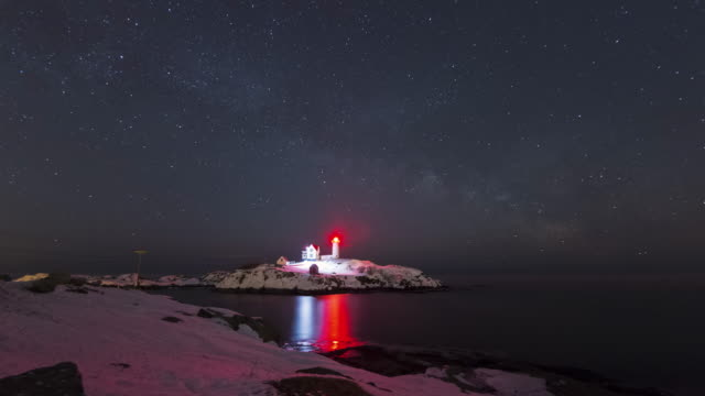 milky way over nubble lighthouse - lighthouse stock videos & royalty-free footage