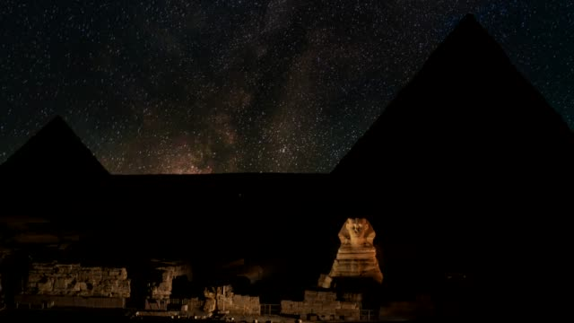 milky way over sphinx and pyramids - giza, egypt. - pyramid stock videos & royalty-free footage