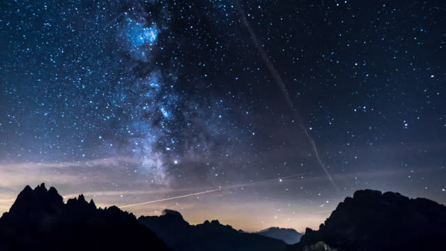 milky way over the mountain range - constellation stock videos & royalty-free footage