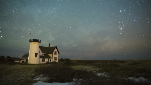 milky way passes over stage harbor lighthouse chatham massachusetts - massachusetts stock videos & royalty-free footage