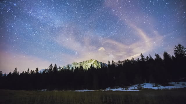 t/l milky way rising over lake luttensee and behind mount karwendel in bavaria - astronomy stock videos & royalty-free footage