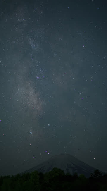 milky way rising over mt. fuji - jp201806 stock videos and b-roll footage