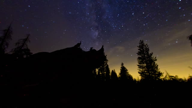 milky way rising - sequoia national park stock videos & royalty-free footage