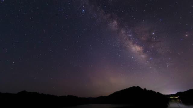 milky way himmel szene 4k uhd - sternenspur stock-videos und b-roll-filmmaterial