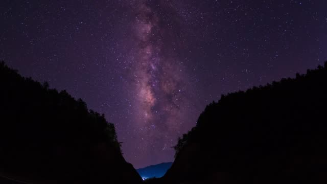 milky way starry sky scenery 4k uhd - canyon stock videos & royalty-free footage
