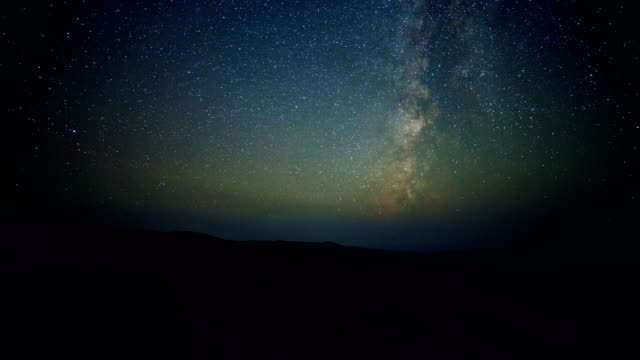 Milky way stars pan dark sky from summit of Steens Mountain in fall