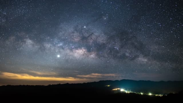 milky way time lapse and star sky on the galaxy - panoramic stock videos & royalty-free footage