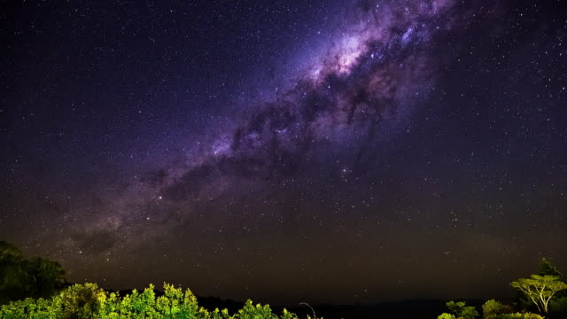 milky way timelapse at lamington national park, queensland, australia in 4k - purple stock videos & royalty-free footage
