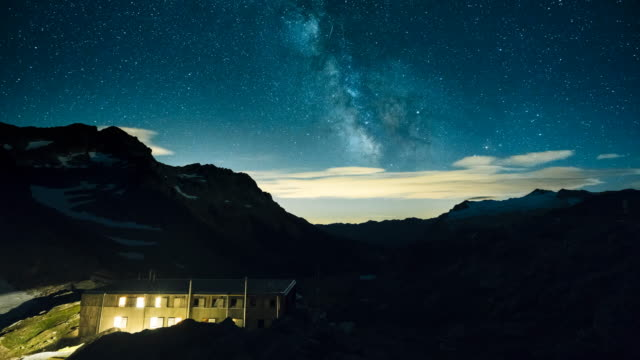 Milky Way timelapse over mountain hut and alpine landscape