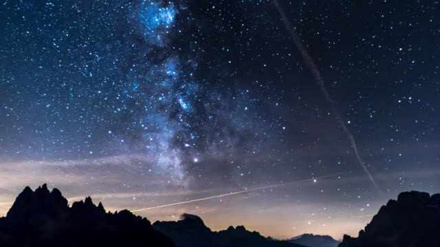 Milky way with mountain background timelapse