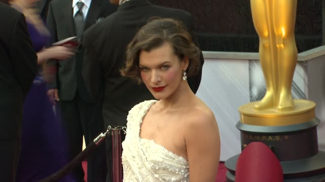 milla jovovich at 84th annual academy awards arrivals on 2/26/12 in hollywood ca - milla jovovich stock videos and b-roll footage
