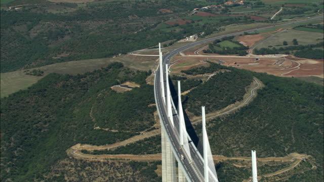 aerial, millau viaduct, midi-pyrenees, france - viaduct stock videos & royalty-free footage