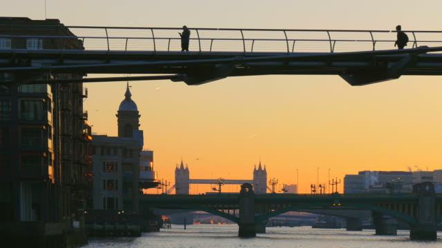 Millenium Bridge, Thames River and Tower Bridge in the Morning, London, England, Great Britain