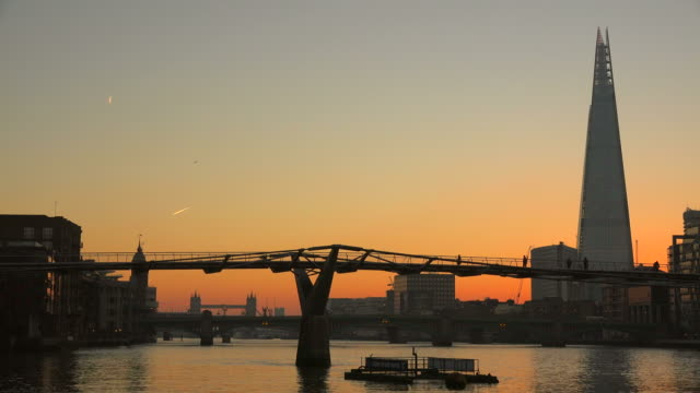 Millenium Bridge, The Shard, Thames River and Tower Bridge in the Morning, London, England, Great Britain