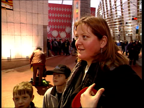 test opening; 18.45: helen wright england: london: greenwich: ext people arriving for test opening of the millennium dome people approaching the dome... - the o2 england stock videos & royalty-free footage