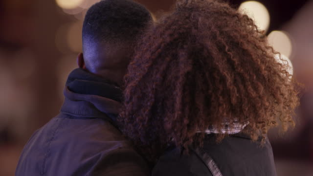 Millennial black couple travel to a new city