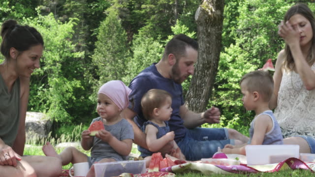 vídeos de stock e filmes b-roll de millennial parents outdoor week end - picnic