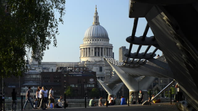 millennium bridge and st pauls - london millennium footbridge stock videos and b-roll footage