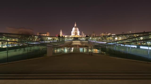 millennium bridge at night time lapse - london millennium footbridge stock videos and b-roll footage