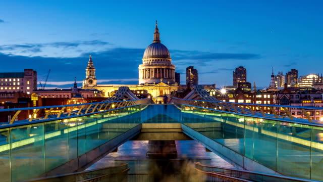 millennium bridge day to night, london - london millennium footbridge stock videos and b-roll footage