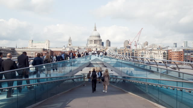 millennium bridge in london (slow motion) - st. paul's cathedral london stock videos & royalty-free footage