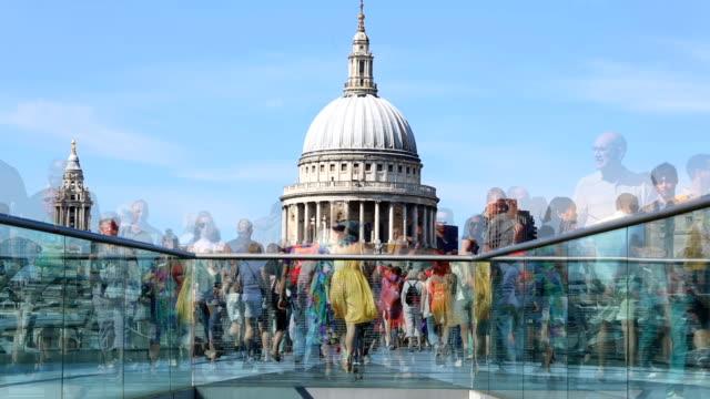 millennium bridge london - london millennium footbridge stock videos and b-roll footage