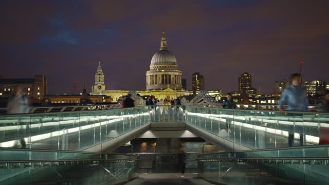 millennium bridge. st. paul's cathedral - st. paul's cathedral london stock videos & royalty-free footage