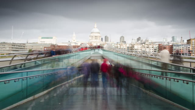 Millennium Bridge time lapse with St Paul's Cathedral