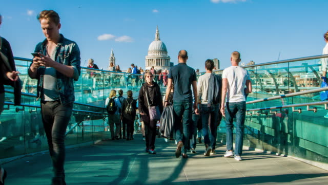 millennium bridge - london millennium footbridge stock videos and b-roll footage