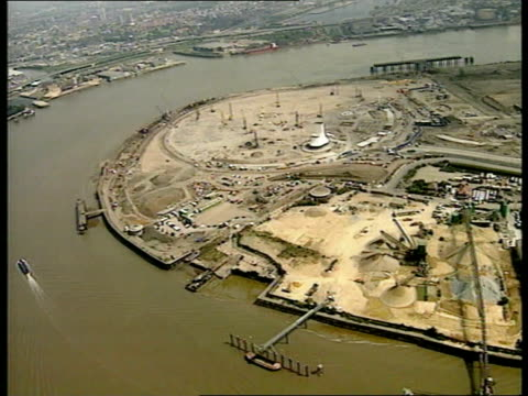 millennium dome; itn england: london: greenwich air view site where millennium dome is being constructed westminster peter mandelson mp intvwd - want... - the o2 england stock videos & royalty-free footage
