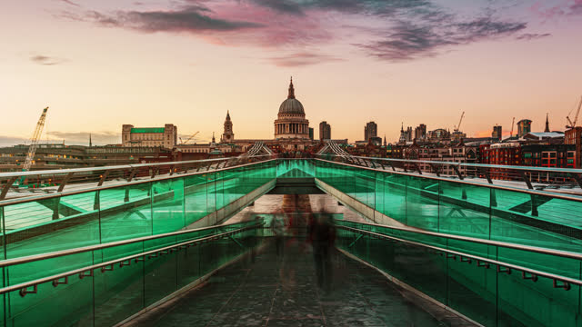 millennium footbridge with st. paul cathedral - central london stock videos & royalty-free footage