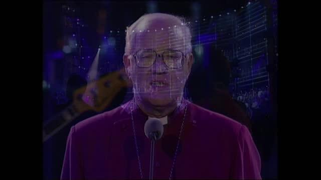 vídeos de stock e filmes b-roll de part one: 22.56 - 23.25:; england: london: north greenwich: millennium dome: tgv dome int; archbishop of canterbury dr george carey; carey speech and... - benção