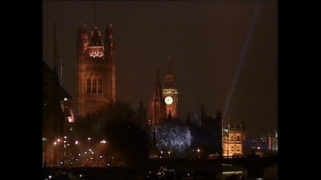 part two: 23.25 - 23.33:; 23.25.55 england: london: ext / night gv millennium clock gir int trevor mcdonald live studio sot embankment: ext / night... - laser stock videos & royalty-free footage