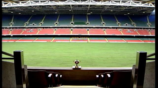 cardiff millennium stadium retractable roof of stadium gvs stadium pitch / goalposts - millennium stadium stock videos & royalty-free footage