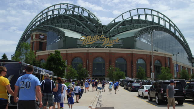 miller park, home of the milwaukee brewers, before a game - wisconsin video stock e b–roll