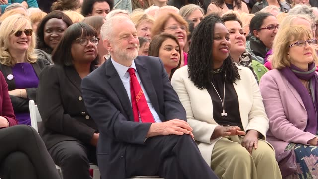 millicent fawcett statue unveiled in parliament square cutaways gvs millicent fawcett statue / jeremy corbyn mp dawn butler mp tulip siddiq mp and... - mp stock videos & royalty-free footage