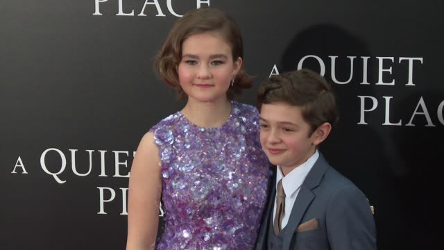Millicent Simmonds Noah Jupe at New York Premiere of A QUIET PLACE at AMC Lincoln Square Theater on April 2 2018 in New York City