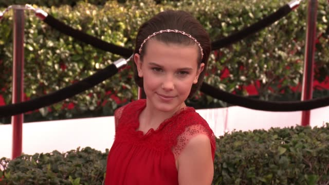 millie bobby brown at 23rd annual screen actors guild awards arrivals at the shrine expo hall on january 29 2017 in los angeles california - millie bobby brown stock videos & royalty-free footage