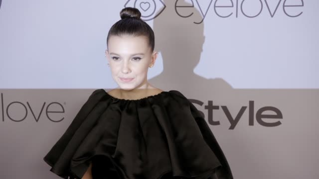 millie bobby brown at the warner bros pictures and instyle host 19th annual postgolden globes party at the beverly hilton hotel on january 7 2018 in... - golden globe awards stock videos & royalty-free footage