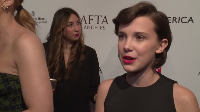 interview millie bobby brown on her third time at the bafta awards season tea party on what she loves about this event on stranger things at 2017... - millie bobby brown stock videos & royalty-free footage