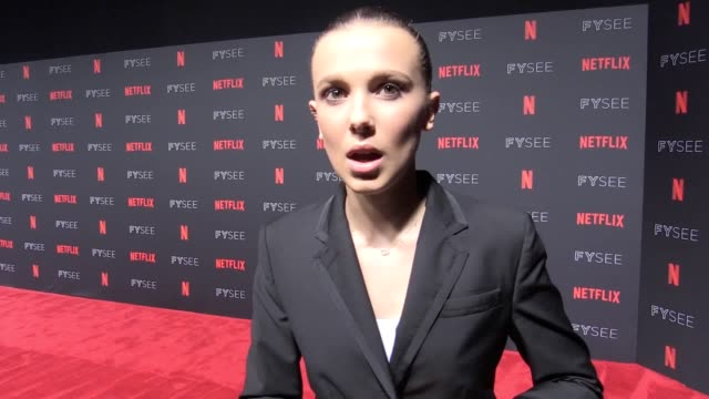 millie bobby brown said she would like leonardo dicaprio to take a guest role in hit netflix series stranger things - millie bobby brown stock videos & royalty-free footage