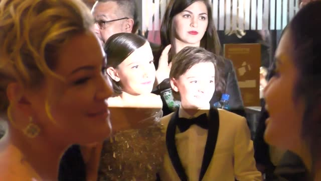 Millie Bobby Brown the Stranger Things Cast outside the Golden Globe Awards at Beverly Hilton Hotel in Beverly Hills in Celebrity Sightings in Los...