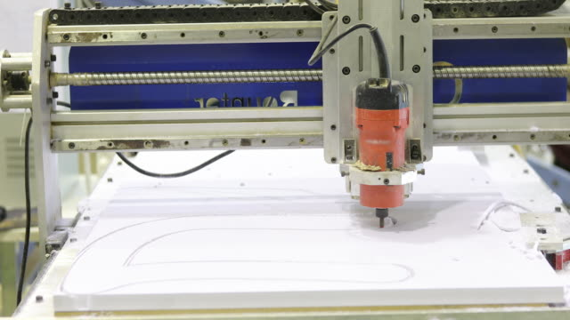 cnc milling machine moment and working on plastic - drill stock videos & royalty-free footage