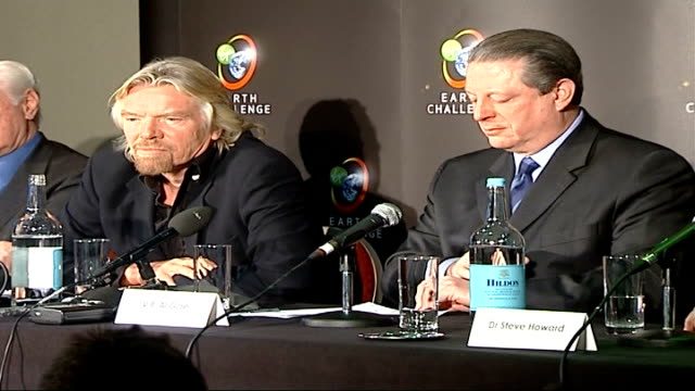 25 million dollar prize offered for global warming solution england london int richard branson and al gore seated with other at earth challenge press... - environmental media awards stock videos & royalty-free footage