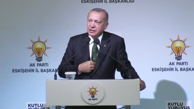 turkish president recep tayyip erdogan addresses the crowd during a meal with his ruling justice and development party's provincial organization in... - human joint stock videos & royalty-free footage
