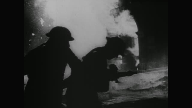 WWII Millions of firebombs drop on London from German planes causing the largest fire in recorded history Firefighters use the Thames River to fight...